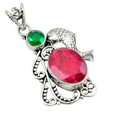 Clearance Sale- ver red ruby green emerald quartz fish pendant jewelry d7626