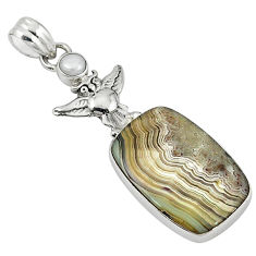 Clearance Sale- lor mexican laguna lace agate pearl 925 silver owl pendant d7669