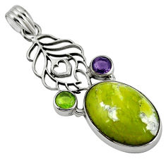 Clearance Sale- 925 silver natural yellow lizardite (meditation stone) pendant jewelry d7670