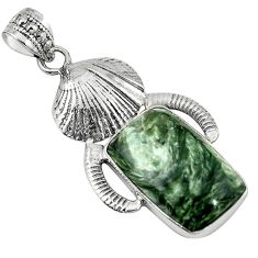 Clearance Sale- 925 sterling silver natural green seraphinite (russian) pendant jewelry d7675