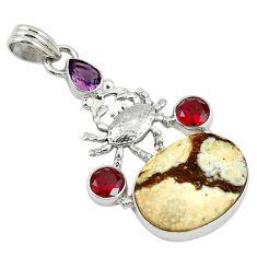 Natural bronze wild horse magnesite amethyst 925 silver pendant jewelry d7682
