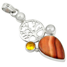 Clearance Sale- ve rolling hills dolomite citrine 925 silver pendant d7687