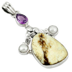 Clearance Sale- 925 silver natural white wild horse magnesite amethyst pearl pendant d7693