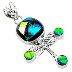 Clearance Sale- roic glass 925 sterling silver dragonfly pendant jewelry d7696