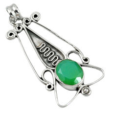 Clearance Sale- 925 sterling silver green emerald quartz oval pendant jewelry d7714