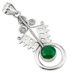 Clearance Sale- 925 sterling silver green emerald quartz round pendant jewelry d7719