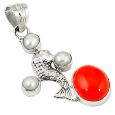 pearl 925 sterling silver fish pendant jewelry d7748