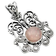Clearance Sale- 925 sterling silver natural pink rose quartz butterfly pendant jewelry d7770