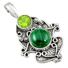 Natural green malachite (pilot's stone) peridot 925 silver pendant jewelry d7777
