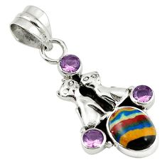 Clearance Sale- Natural multi color rainbow calsilica amethyst 925 silver two cats pendant d7801