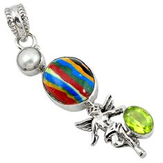 Clearance Sale- Natural multi color rainbow calsilica 925 silver cupid angel wings pendant d7805