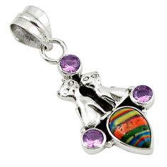 Natural multi color rainbow calsilica amethyst 925 silver two cats pendant d7817