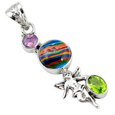 Clearance Sale- 925 silver natural multi color rainbow calsilica cupid angel wings pendant d7820
