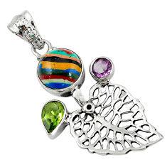 Clearance Sale- 925 silver natural multi color rainbow calsilica deltoid leaf pendant d7836