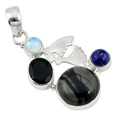 Clearance Sale- nbow moonstone 925 silver pendant jewelry d7858