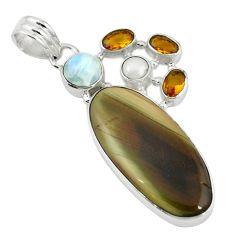 Clearance Sale- perial jasper moonstone citrine pearl 925 silver pendant d7859