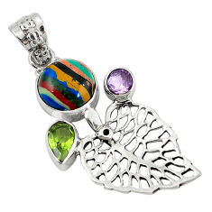 Clearance Sale- Natural multi color rainbow calsilica 925 silver deltoid leaf pendant d7864