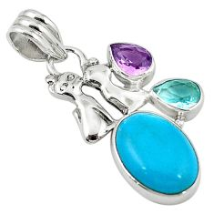 Blue arizona mohave turquoise amethyst topaz 925 silver two cats pendant d7870