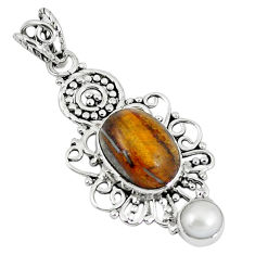 Clearance Sale- Natural brown tiger's eye white pearl 925 sterling silver pendant d8102