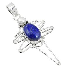 Clearance Sale- 925 sterling silver natural blue lapis lazuli pearl pendant jewelry d8118