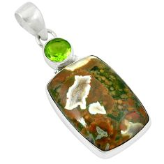 Clearance Sale- Natural multi color rainforest rhyolite jasper 925 silver pendant jewelry d8147