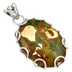 Clearance Sale- 925 silver natural multi color rainforest rhyolite jasper pendant jewelry d8160