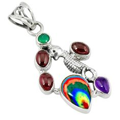 Clearance Sale- Natural multi color rainbow calsilica chalcedony 925 silver pendant d8168