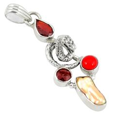 Clearance Sale- 925 sterling silver natural pink biwa pearl coral garnet pendant jewelry d8175