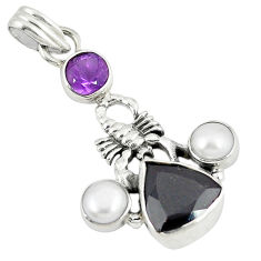 Clearance Sale- 925 sterling silver natural red garnet amethyst pearl scorpion pendant d8180
