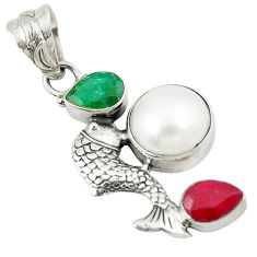 quartz 925 silver fish pendant jewelry d8190