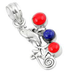 ver red coral lapis lazuli round pendant jewelry d8198