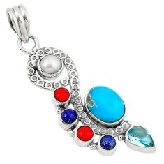 Clearance Sale- e arizona mohave turquoise pearl topaz 925 silver pendant d8206