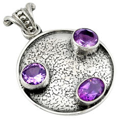Clearance Sale- 925 sterling silver natural purple amethyst oval pendant jewelry d8244