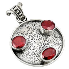 Clearance Sale- Natural red garnet round 925 sterling silver pendant jewelry d8247
