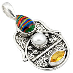 Clearance Sale- ilica citrine pearl 925 silver pendant d8264