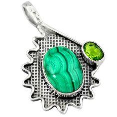 925 silver natural green malachite (pilot's stone) peridot pendant jewelry d8275