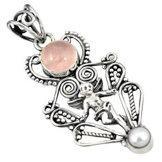 Clearance Sale- Natural pink rose quartz pearl 925 silver cupid angel wings pendant d8307