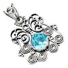 ver natural blue topaz round butterfly pendant jewelry d8308