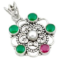 Clearance Sale- 925 sterling silver natural white pearl ruby emerald quartz pendant d8332