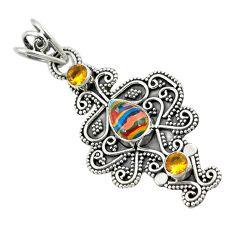 Clearance Sale- Natural multi color rainbow calsilica citrine 925 silver pendant jewelry d8339