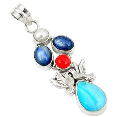 Clearance Sale- Blue sleeping beauty turquoise pearl 925 silver love birds pendant d8381