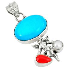 Clearance Sale- Blue sleeping beauty turquoise pearl 925 silver cupid angel wings pendant d8387