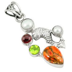 Clearance Sale- Red copper turquoise garnet pearl 925 sterling silver fish pendant d8390