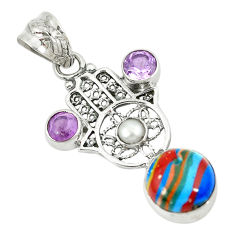 Clearance Sale- Natural multi color rainbow calsilica 925 silver hand of god hamsa pendant d8400