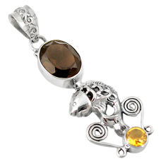 z yellow citrine 925 sterling silver fish pendant jewelry d8402