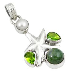 Natural green moss agate pearl 925 silver star fish pendant jewelry d8412