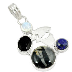 Clearance Sale- nbow moonstone 925 silver pendant d8458