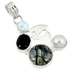 Clearance Sale- nstone pearl 925 sterling silver pendant d8459