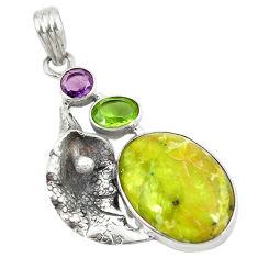 Clearance Sale- Natural lizardite (meditation stone) 925 silver deltoid leaf pendant d8463