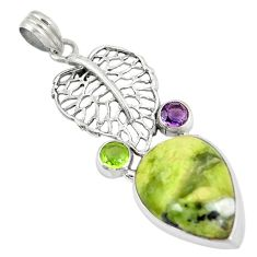925 silver natural lizardite (meditation stone) pear deltoid leaf pendant d8477